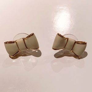 Kate Spade Gold and Cream Bow Stud Earrings